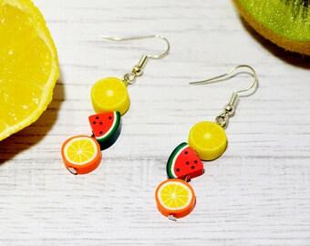 Polymer Clay Fruit Earrings, Lemon earrings, Melon earrings, Orange earrings, Fun earrings. Quirky earrings, gift for girls.