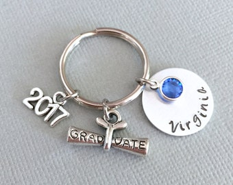 Personalized Graduation Keychain, Name Disc, Graduation Gift, Class of 2017, Senior Year Gift, High School Graduation, College Graduation