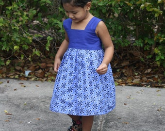Girls Blue Dress, Girls Summer Dress, Girls Cotton Dress, Girls Handmade Dress
