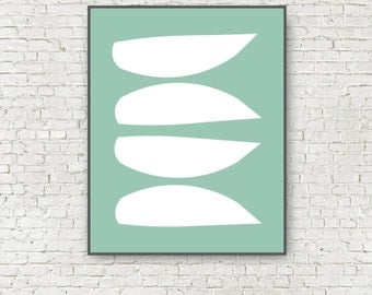 Large Abstract Art Print Turquoise Mid Century Modern 11x14 and 16x20 Digital Art Blue Beach Abstract Instant Download Wall Art Printable