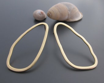 Simple earrings, sustainable jewelry, unique gold earrings, gold wire hoops, solid 14k jewelry, gold minimalist, hammer gold earrings drops