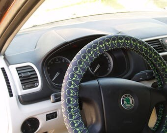 Alien steering wheel cover Car accessory Car decoration for man Car decor for woman Birthday gift Car accessories set Steering wheel covers