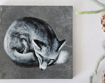 Hand painted fox on natural slate.