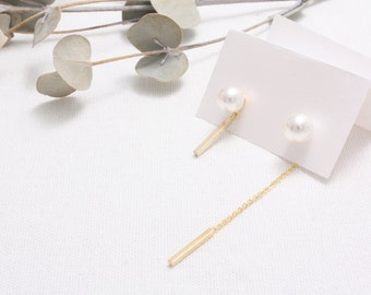 Pearl whit Chain Stick Stud Earrings/ Mismatched Stud Earrings