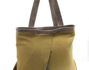 Olive green backpack, Green large backpack,Green backpack laptop Linen backpack women, Fabric & leather backpack