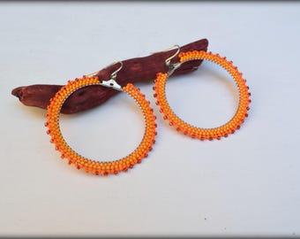 Yellow Hoop earrings,Beaded hoop earrings,Mustard Yellow Orange,Big hoop earrings,Nickel free,seed bead earrings,Gift for her,Spring Jewelry