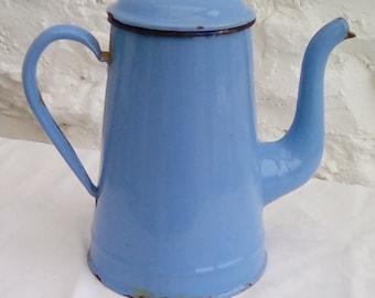 Vintage French enamel coffee pot. Pale blue pitcher.