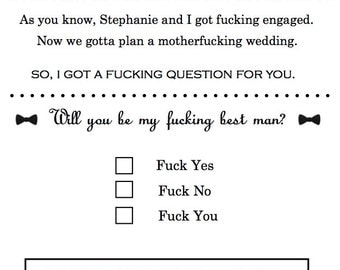 Hey Fuck Face Best Man/Groomsman Personalized Invitation