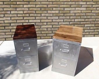 2 drawer Rustic Pipe Desk / Metal Filing Cabinet / industrial