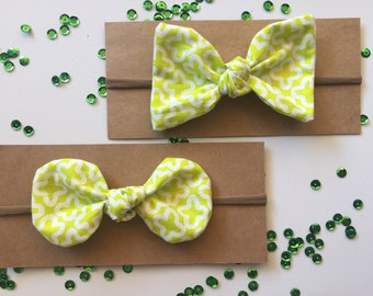Knotted Bow Headband - Lime Green and White