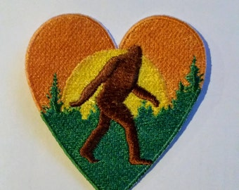 BIGFOOT SASQUATCH Heart Embroidered Patch Applique Embellishment Iron on & Sew on