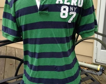 AEROPOSTALE POLO - green with blue stripes- small