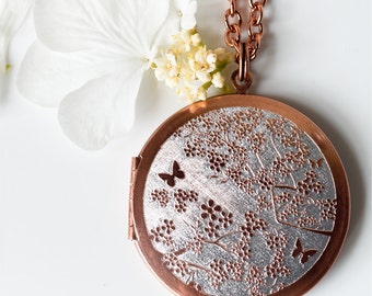 Cherry Blossom... Engraved Vintage Copper Locket 38mm FREE SHIPPING