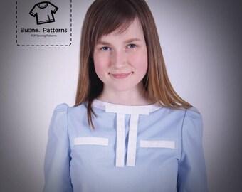 PDF pattern of Blouse, age 6 to 13. PDF pattern.PDF sewing pattern.Blouse for girls pdf patterns.Shirt for girl pdf pattern.pdf patterns