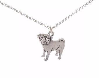 Pug Necklace Antiqued Silver Plated Gift for Dog Animal Lovers Christmas Birthday Holiday Idea