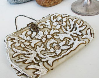Lovely Vintage Beaded Clutch Evening Bag Purse With Mirror Rhinestones