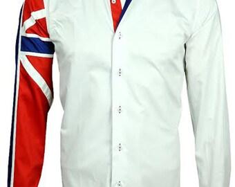 Men's Union Jack Formal Shirt Men Italian Shirt Designer Great Quality Regular Fit White 10147