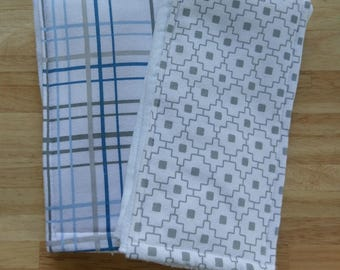Boy Flannel Burp Cloth Set: Blue and Gray, Geometric, lines, plaid, baby shower gift