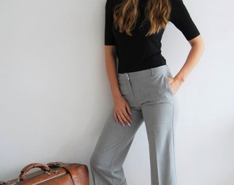 Vintage 90s Grey Cropped Trousers - UK 10