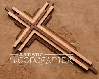 Wooden Cross Wall Decor (Walnut/Birch)
