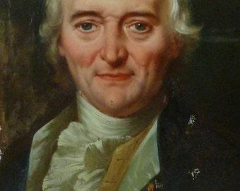 Oil on Panel French Philosopher César Chesneau Dumarsais Du Marsais Painting