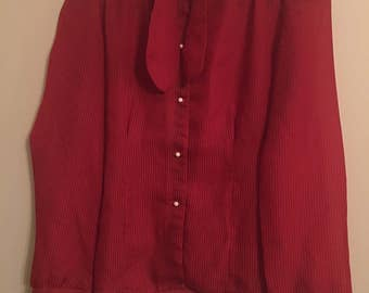 70s Red Pinstripe Blouse w/ Front Tie Size S