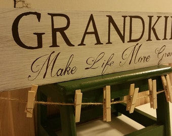 Rustic Grandkids sign with pins to hold pics, request custom color, handpainted handcrafted pallet wood home decor