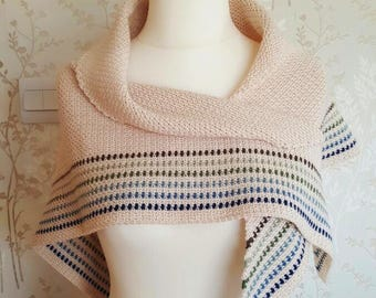 CROCHET / KNITTED SHAWL Wrap - Soft Love Shawl - Cream, Blue, Geen, Brown. Baby Alpaca, Mulberry Silk Handmade Unique Crocheted Gift