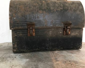 Lunch Box, vintage, metal lunch box, distressed metal, industrial, farmhouse decor, home decor