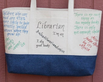 Librarian Gift, Funny Tote Bag, Durable Canvas Tote Bag with Pockets, Personalized Librarian Tote, Appreciation Tote, Book Lover Bag