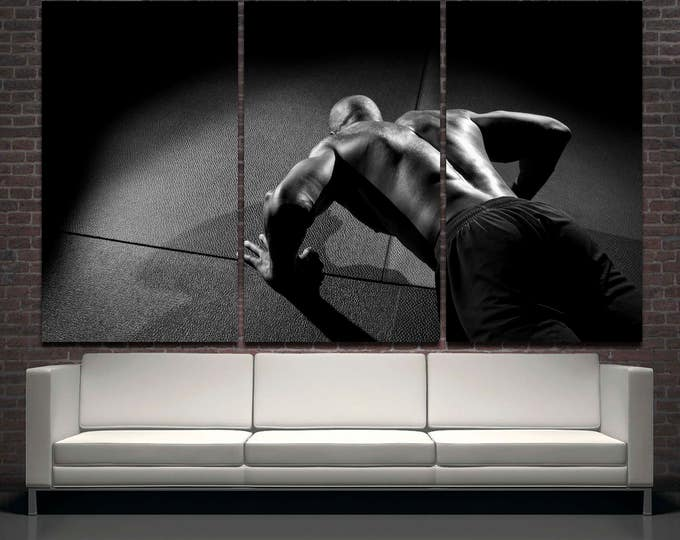 Black and white gym wall decor canvas wall art, fitness motivation canvas wall art, inspirational canvas wall art