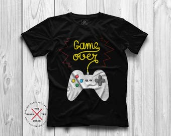 Game over shirt, Geek shirt, Graphic Tshirt, Gamer shirt, Organic Tshirt, Geek gifts, Mens Tshirt, Vegan clothing, Ethical brand