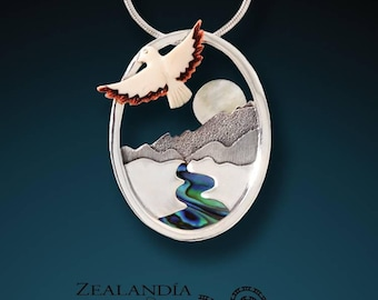 Aim For the Moon - hand carved bone and mother of pearl river pendant