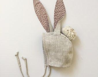 Bunny Ears Bonnet - Natural Linen, Easter Bunny Hat, Bunny Ears Hat, Baby Bunny Bonnet, Linen Bonnet, Toddler Bunny Hat, Halloween Bunny Hat