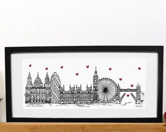 London skyline print with mount - Home is where the heart is - London print - Black white red - Capital City print - London present
