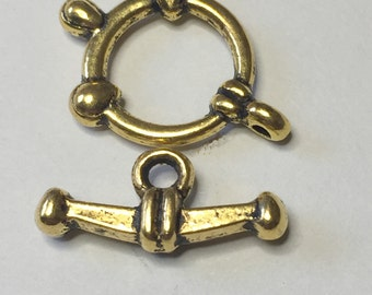 2 SHIP'S WHEEL & ANCHOR Toggle Clasps