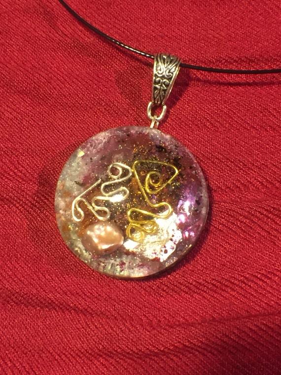 Pink Orgone Pendant for Healing Relationships- Empath Protection Biofield- Positive Orgone Energy Generator-Indigo Rainbow Children