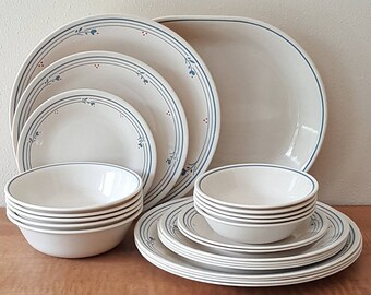 Corelle Country Violets 30 Piece Set Ivory and Blue Violets or Blueberries Corelle Please see listing for details All Pieces Made In USA