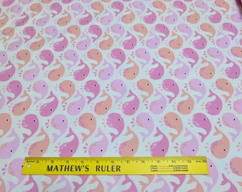 Winky Whales-Pink-Cotton Flannel Fabric from Michael Miller