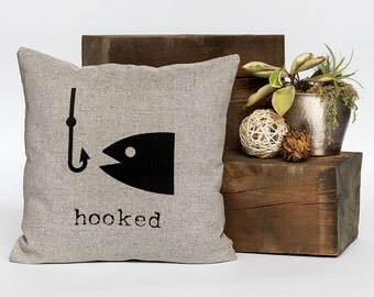 """Hooked - Throw Pillow, Fish Pillow, Decorative Pillow, Accent Pillow - 18"""" X 18"""" In Light Flax, Light Grey Or Cream"""