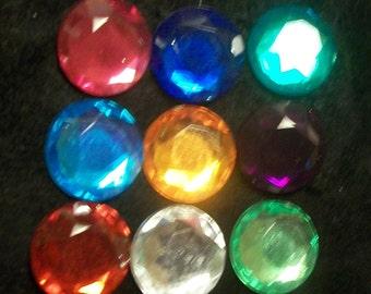 100 Mixed Color Acrylic Flatback Rhinestone Faceted Round Gems 12mm No Hole