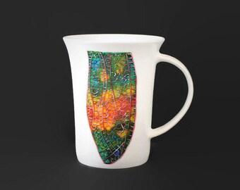 Hand Painted Dragonfly Mug, Ceramic Dragonfly Cup, Bone China Cup, Hand Pianted Dragonfly Wing Design, Abstract Art Mug
