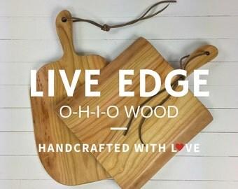 Wooden Cutting Board. Rustic Cutting Board With Handle. Modern Farmhouse. Wooden Charcuterie Board. Live Edge Cutting Boards