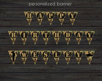 Army Birthday Banner, Army Banner, Military Banner, Camouflage Birthday Banner, Camo Banner, Army Tank Party, Army Party, Camouflage Party