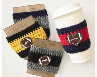 Football Cup Cozy, teacher cozy, coach cozy, football season cozy, coffee sleeve