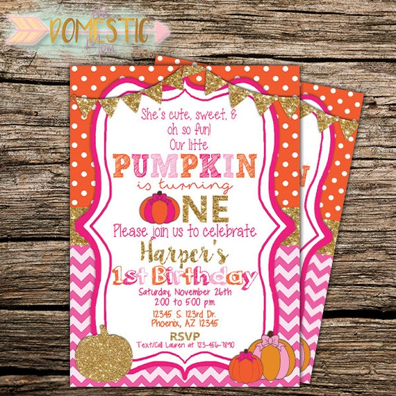 Our Little Pumpkin Birthday Invitation Girls First Birthday