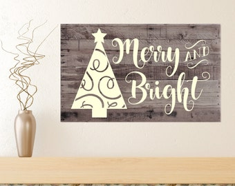 Merry & Bright Decal ONLY - wall decal, home decor, vinyl decal, Winter vinyl, Christmas decoration