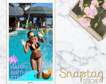 Custom Snapchat Geofilter || neon beachy birthday, miami, florida, beach, birthday filter, coconut, ocean, beach theme, palm tree, tropical