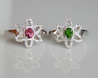 Natural Pink Tourmaline & White Topaz Ring. Pink Tourmaline oval Gemstone Ring. October Birthstone. Fashion Stylish Sterling Silver Ring