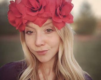 Red flower crown,red rose flower wreath,large,bohemian flower headpiece,bright red flower tiara,big flower halo,ready to ship now